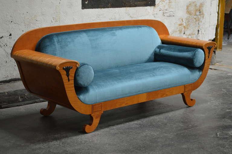Antique Biedermeier Revival Sofa Upolstered in Jim Thompson Silk Velvet In Excellent Condition For Sale In Atlanta, GA
