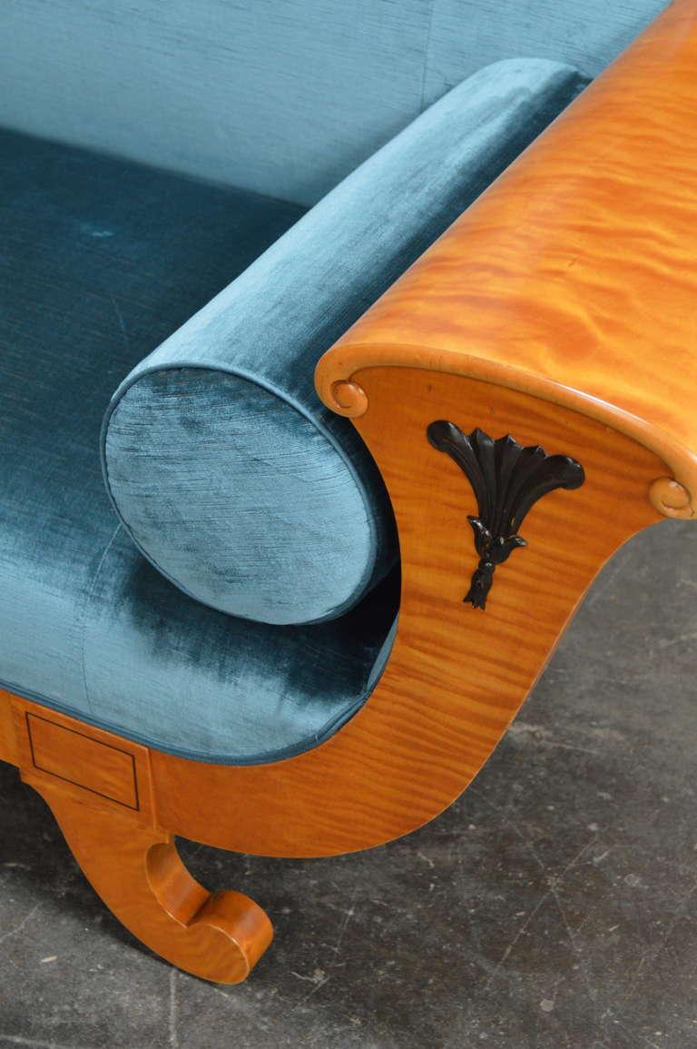 Antique Biedermeier Revival Sofa Upolstered in Jim Thompson Silk Velvet For Sale 1