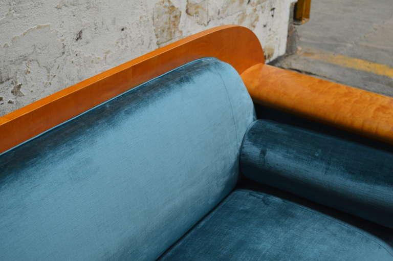 Antique Biedermeier Revival Sofa Upolstered in Jim Thompson Silk Velvet For Sale 2