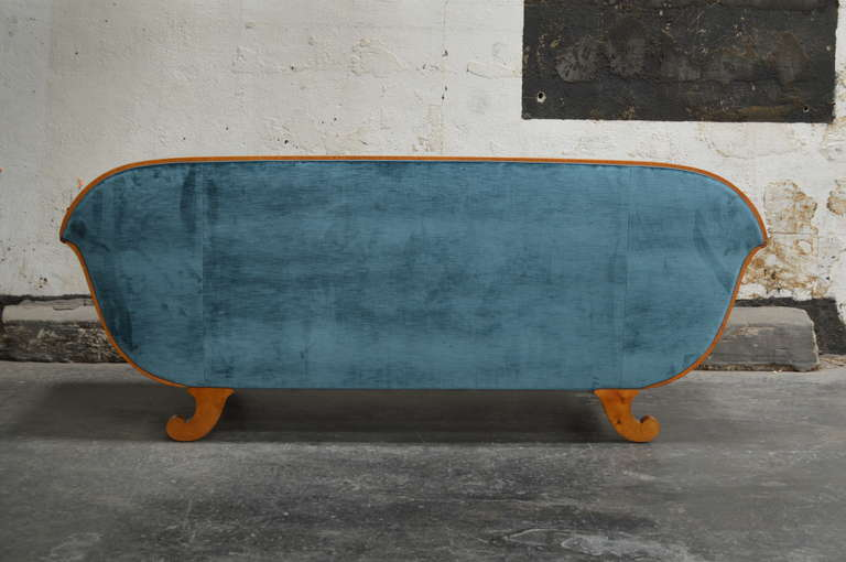 Antique Biedermeier Revival Sofa Upolstered in Jim Thompson Silk Velvet 8