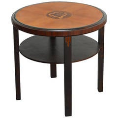 Swedish Art Deco Round Intarsia Side or End Table