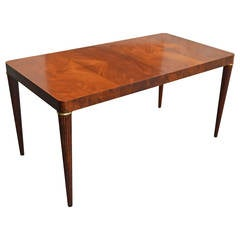 Stunning Swedish Bookmatched Mahogany Dining or Writing Table