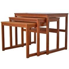Teak Wood Sled-Base Nesting Tables