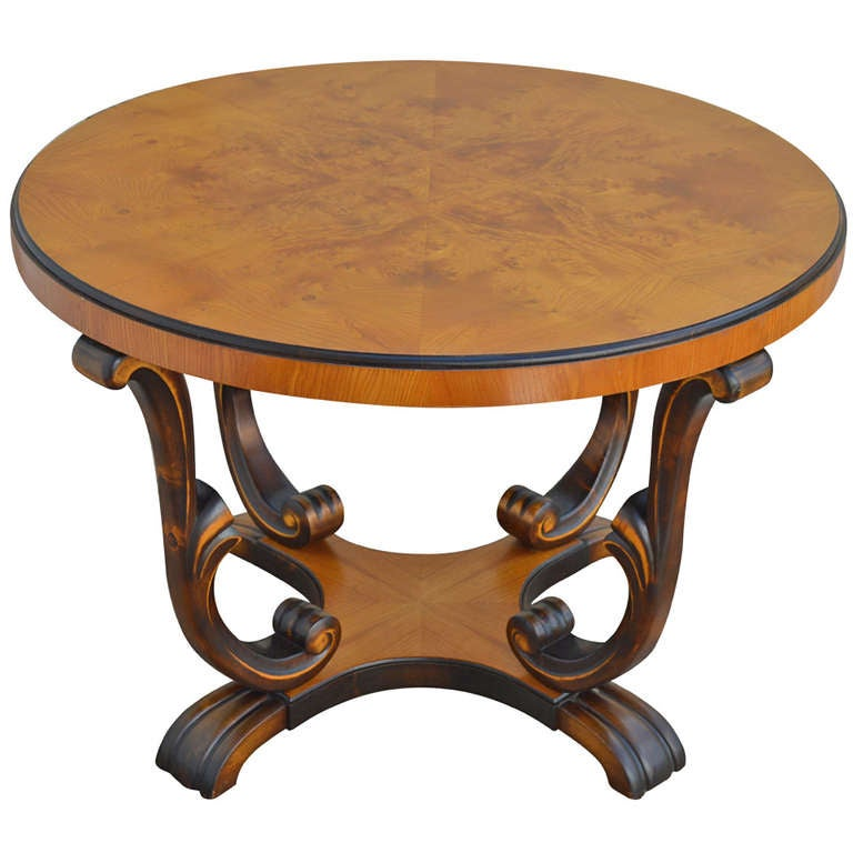 Swedish Art Deco Round Carpathian Elm End Or Side Table