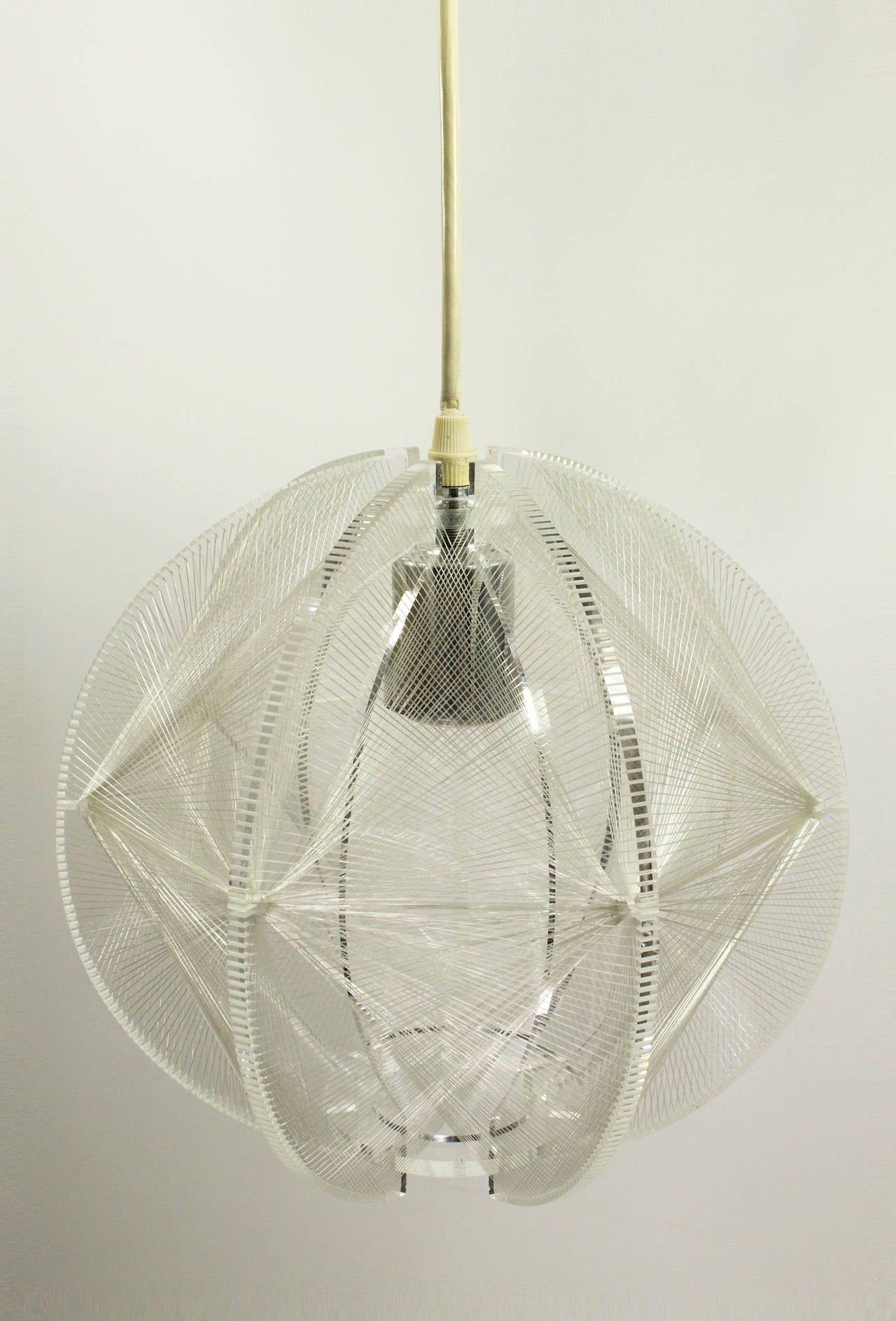 Mid-Century Lucite and String Pendant Light 3