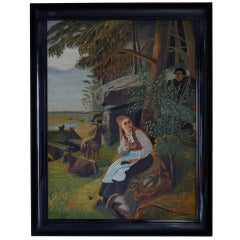 Antique Swedish Fairy Tale Pastoral Painting