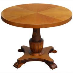 Swedish Art Deco Round Golden Elm End or Side Table