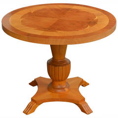 Swedish Deco Round Golden, Elm Intarsia Side or End Table