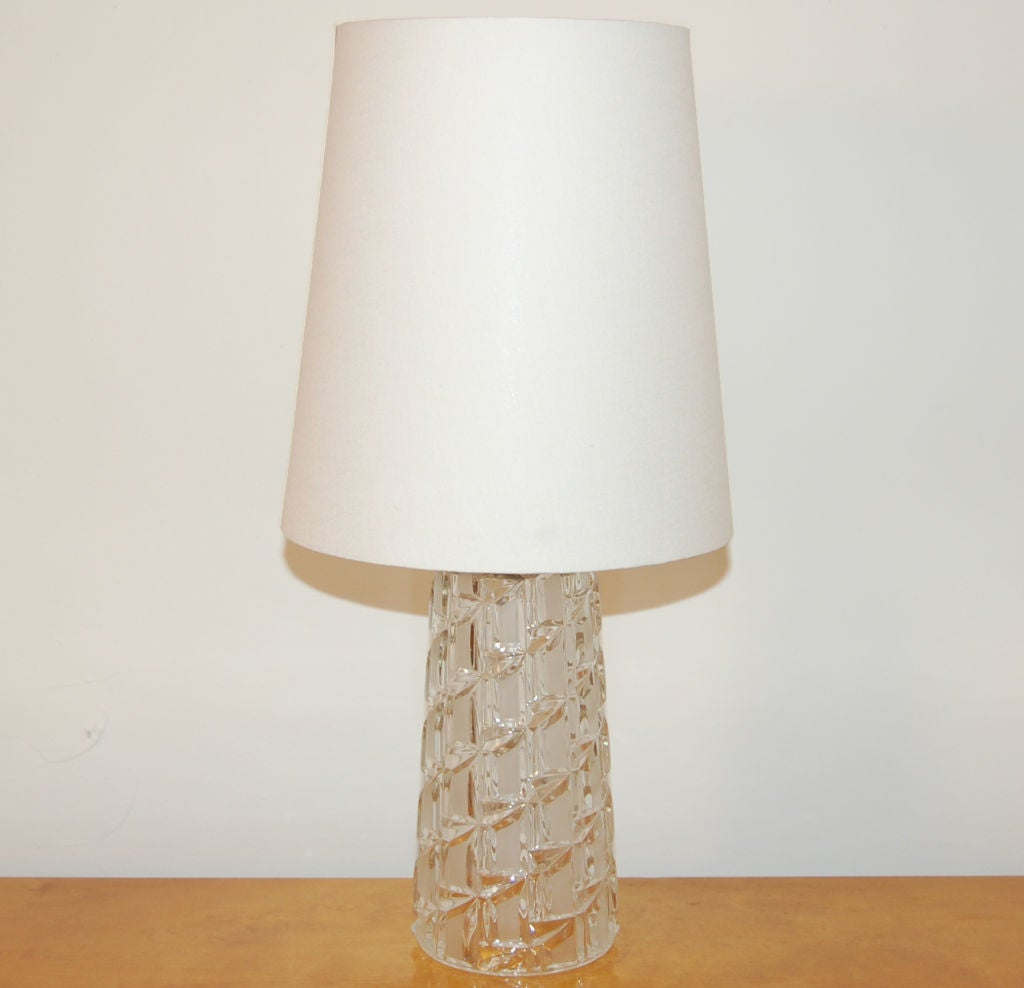 vintage swedish cut clear and frosted glass table lamp at. Black Bedroom Furniture Sets. Home Design Ideas