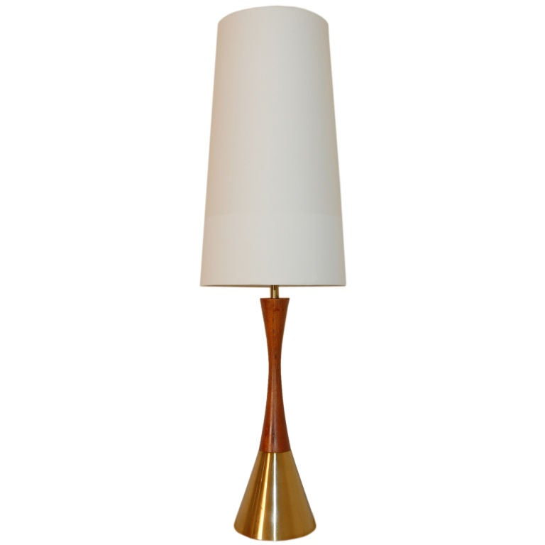 Vintage Swedish Teak And Brass Table Lamp By Bergboms At