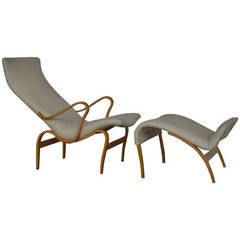 "Vintage Swedish ""Pernilla 1"" Chair and Ottoman by Bruno Mathsson"