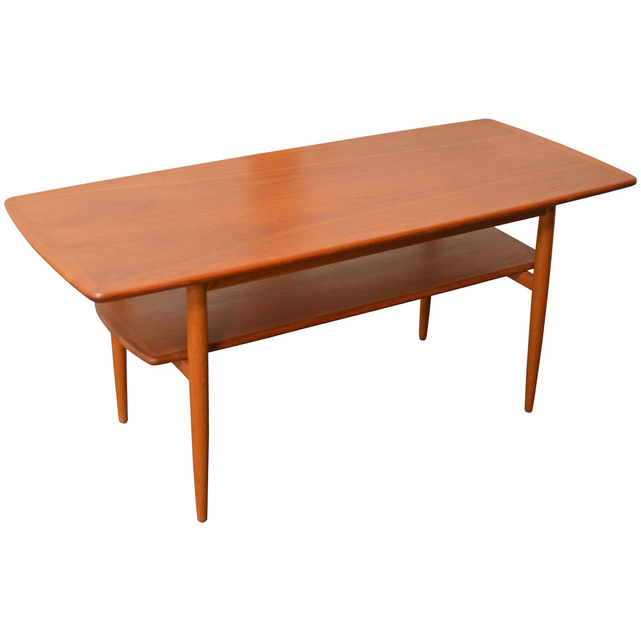 Mid century modern swedish teak coffee table with shelf for Mid century modern coffee table