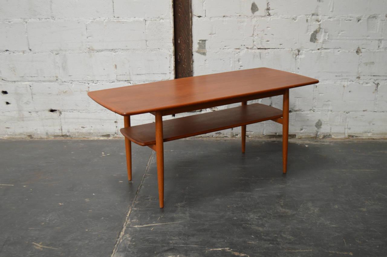 Mid Century Modern Swedish Teak Coffee Table With Shelf