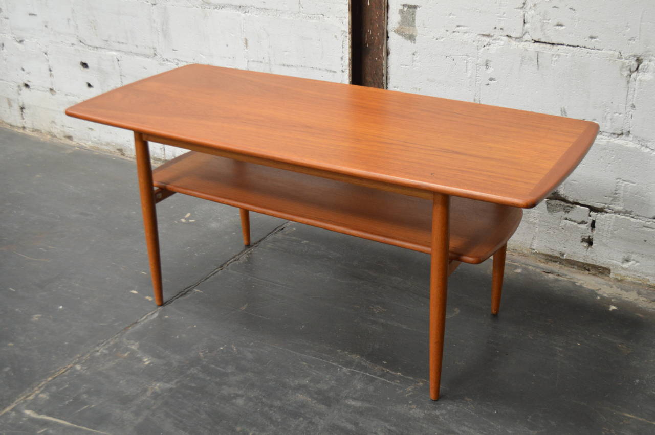 Mid Century Modern Swedish Teak Coffee Table With Shelf For 2