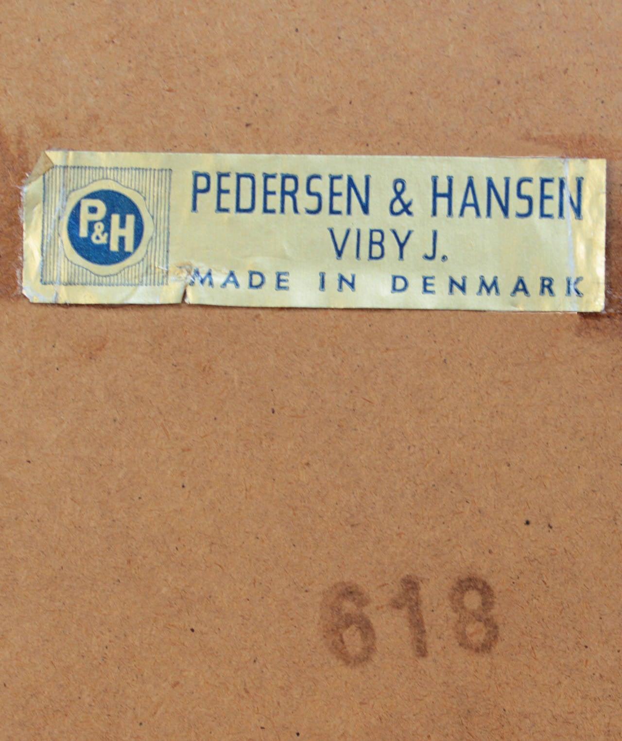 Danish Modern Teak And Copper Inlay Mirror By Pedersen And