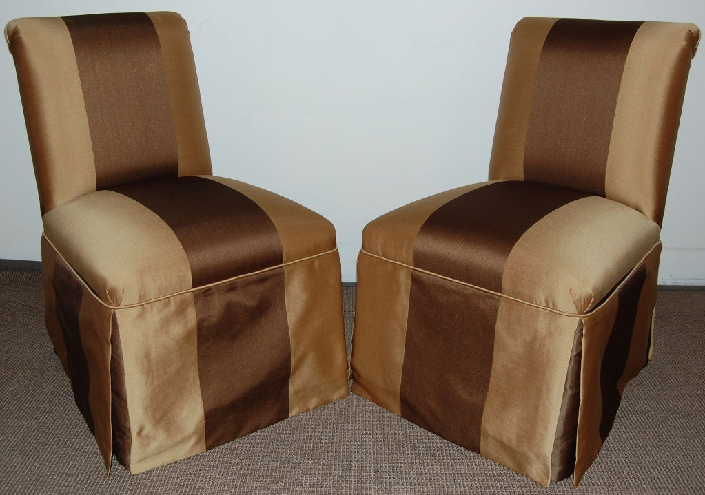 Pair Of Vintage Armless Striped Slipper Chairs C 1940 At