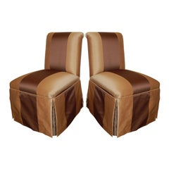 Pair of Vintage Armless Striped Slipper Chairs c. 1940