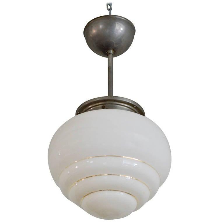 Swedish industrial art deco pendant light fixture at 1stdibs for Swedish light fixtures