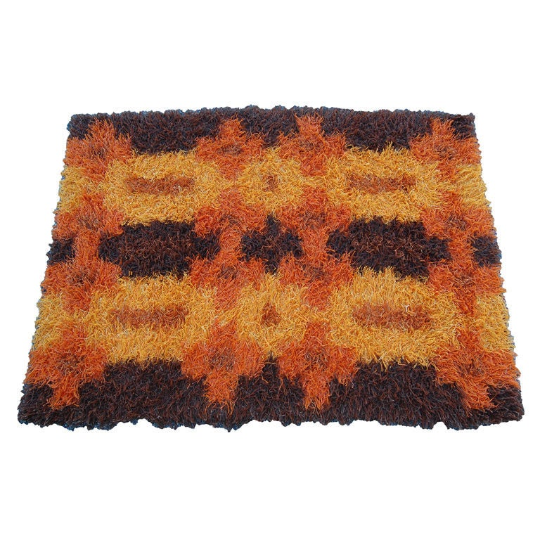 Vintage 1960u0027s Swedish Modern Orange / Brown Rya Rug By Tabergs 1
