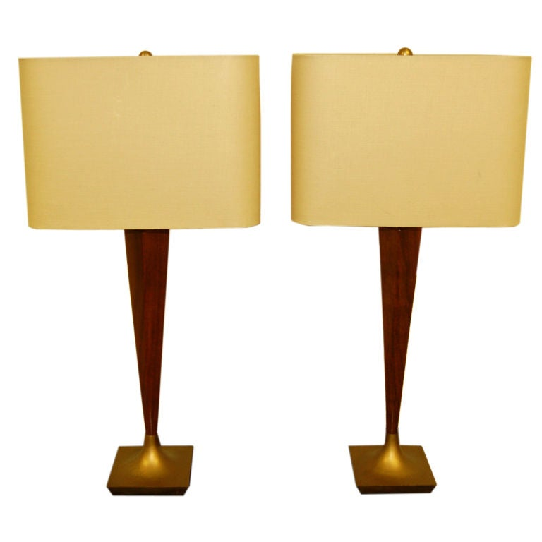 Pair Of Mid Century Modern Teak And Brass Table Lamps At