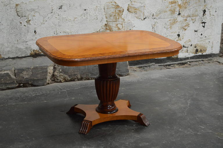 Swedish Art Deco rectangular golden elm end or side table. Beautifully detailed with Carpathian elm border on the top and carved edge detail. Height is adjustable from 25