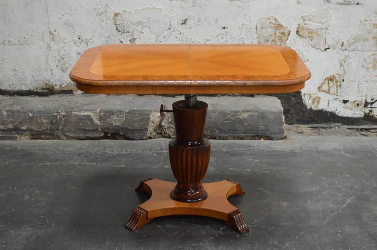 Birch Swedish Adjustable Art Deco, Rectangular Golden Elm End or Side Table For Sale