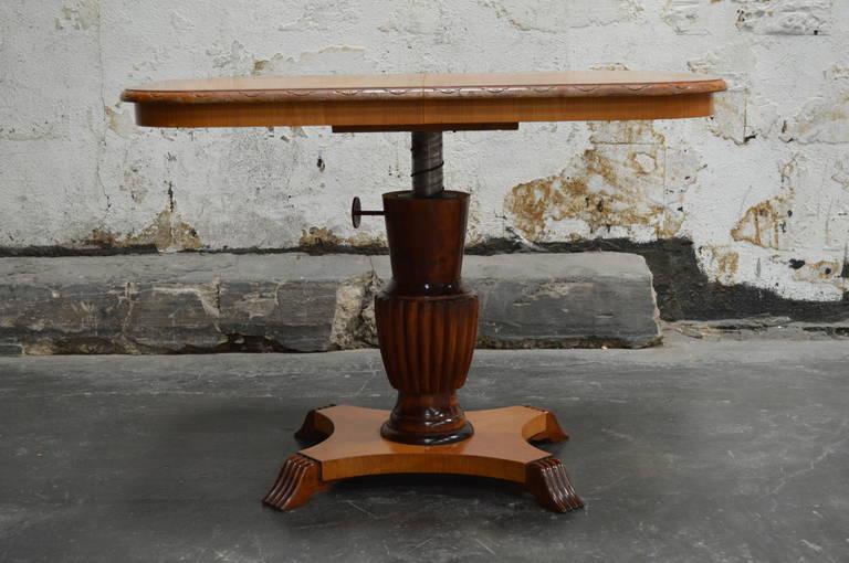 Swedish Adjustable Art Deco, Rectangular Golden Elm End or Side Table For Sale 1