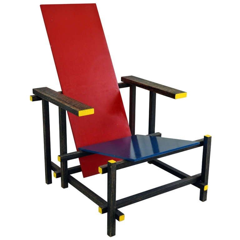 Sale Vintage Red And Blue Modernist Chair In The Manner