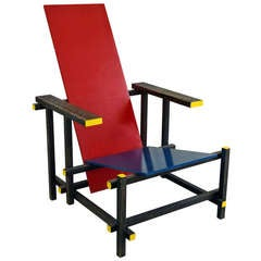 *SALE* Vintage Red and Blue Modernist Chair in the Manner of Gerrit Rietveld