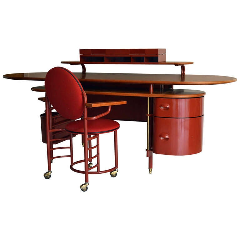 Rare Johnson Wax 1 Desk and 2 Chair by Frank Lloyd Wright for Cassina
