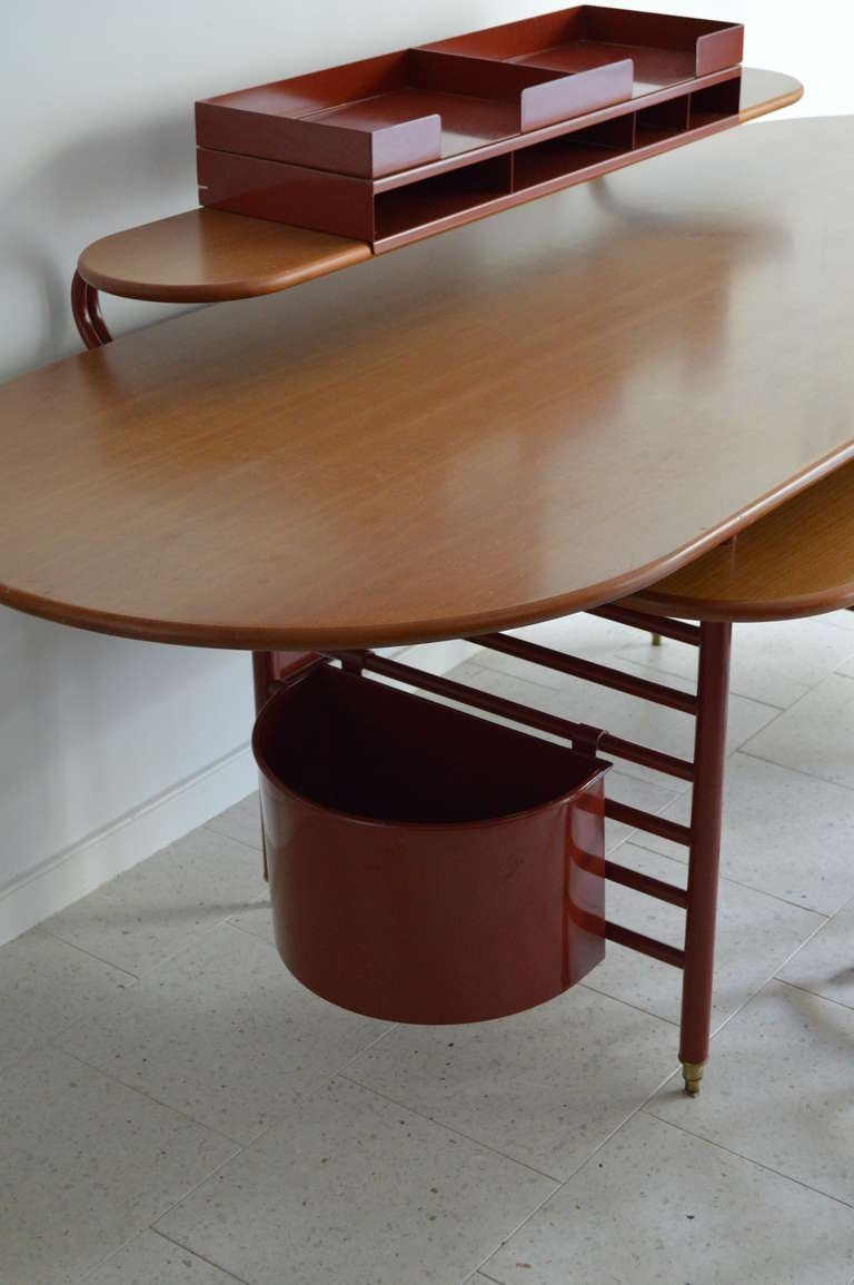 Rare Johnson Wax 1 Desk and 2 Chair by Frank Lloyd Wright for Cassina at 1stdibs