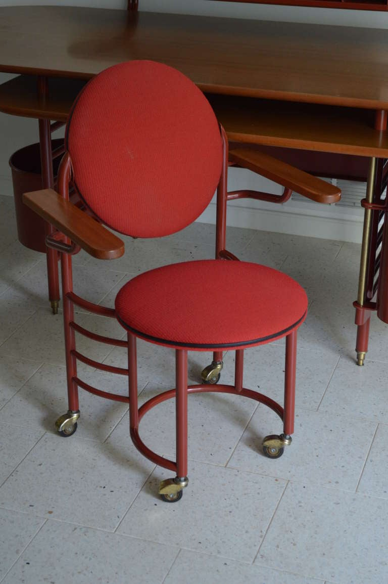 Rare Johnson Wax 1 Desk And 2 Chair By Frank Lloyd Wright