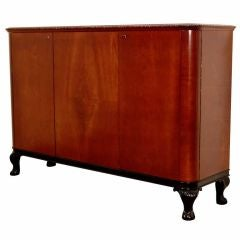 Swedish Art Moderne Dark Elm Credenza on Black Lacquer Base
