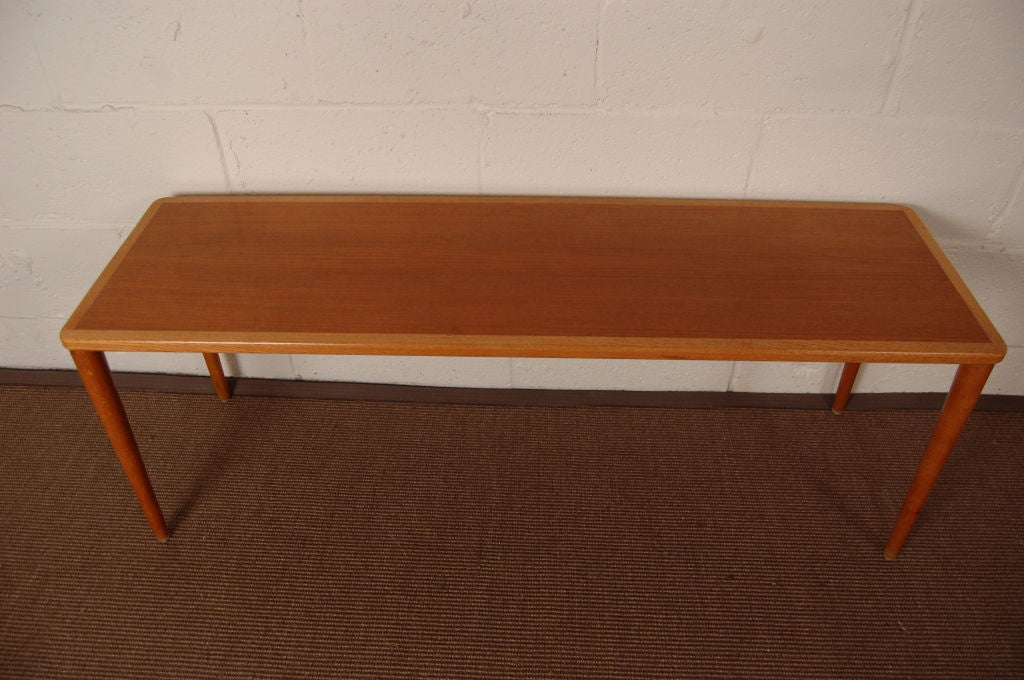 Swedish mid century modern teak and oak narrow coffee for Narrow cocktail table