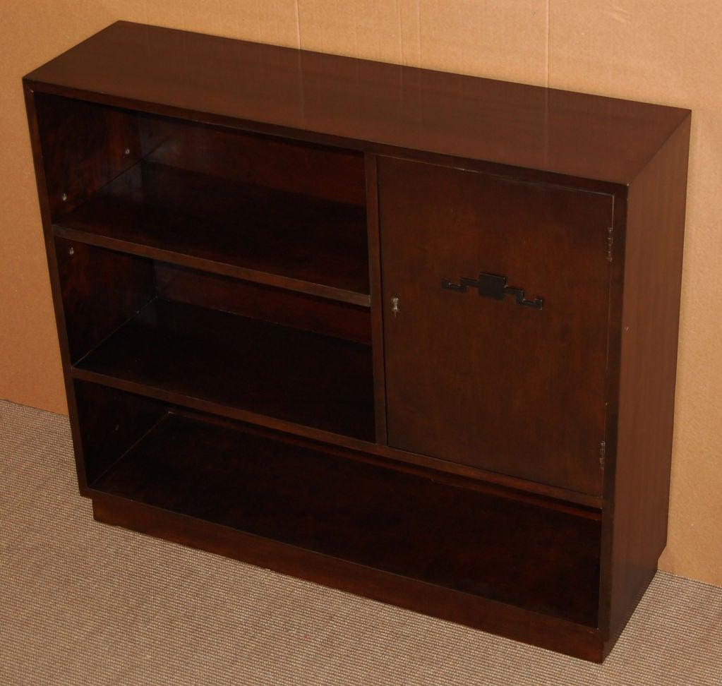 Mid-20th Century Swedish Art Deco Functionalist Dark Flame Birch Bookcase Cabinet For Sale