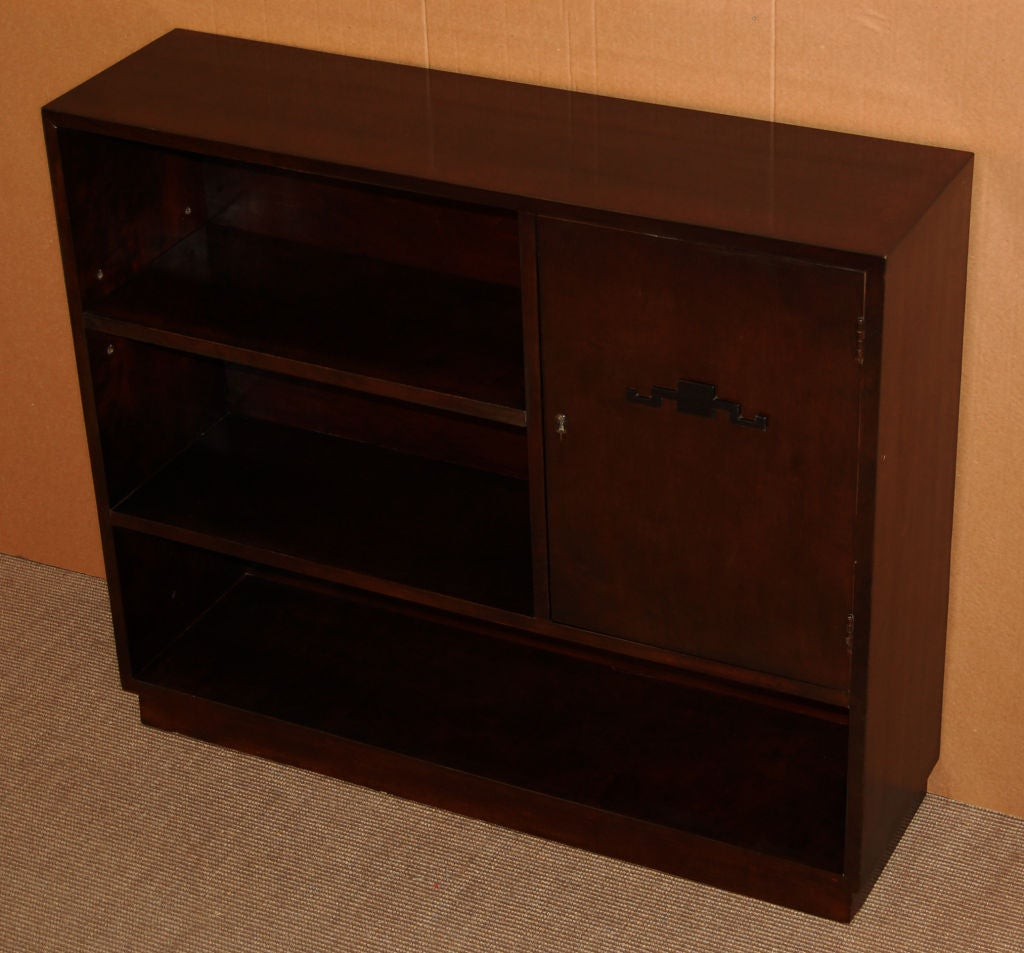 Swedish Art Deco Functionalist Dark Flame Birch Bookcase Cabinet For Sale 1