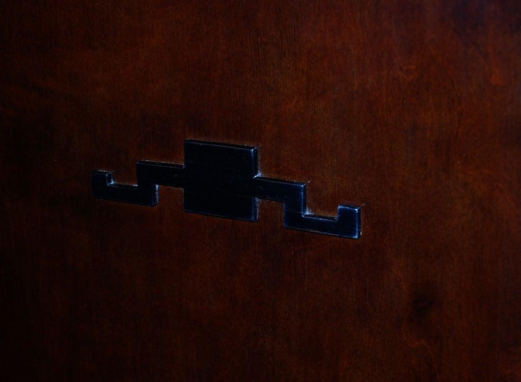 Swedish Art Deco Functionalist Dark Flame Birch Bookcase Cabinet For Sale 3