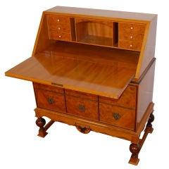 Swedish Carpathian Elm Secretaire Writing Desk