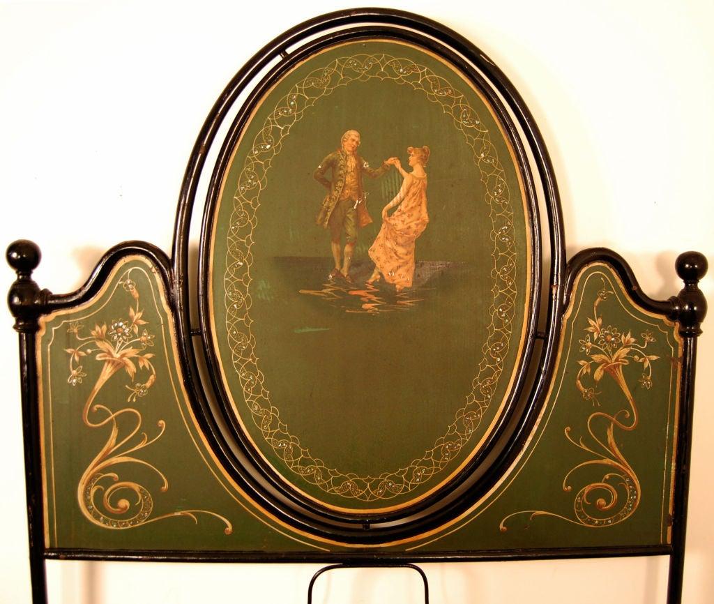 Renaissance Revival Antique Italian Painted Tole Queen Size Bed For Sale