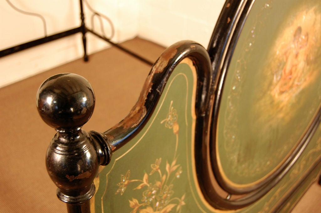 Iron Antique Italian Painted Tole Queen Size Bed For Sale