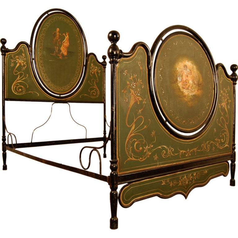 Antique Italian Painted Tole Queen Size Bed For Sale
