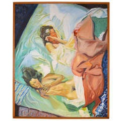 Large Vintage Painting of Two Nudes by Neill Slaughter