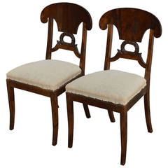 Pair of Swedish Karl Johan, Biedermeier Side Chairs COM Ready