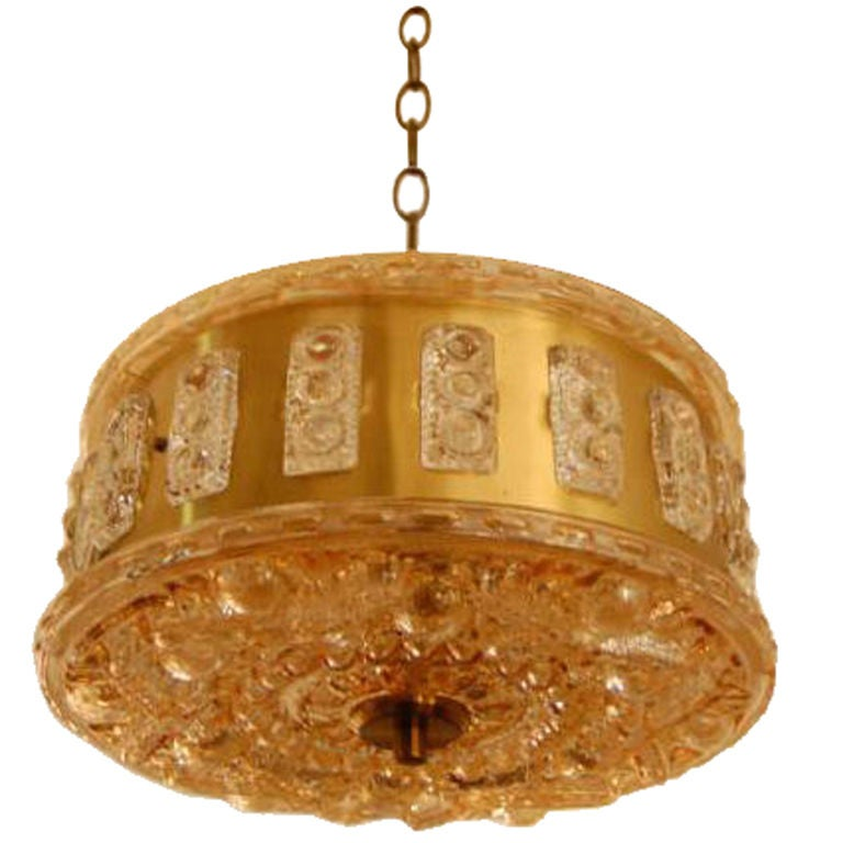 Swedish Mid-Century Modern Glass and Brass Pendant Chandelier
