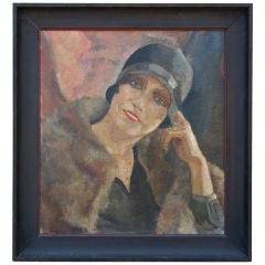 Portrait of Flapper by C. Brosset, Signed Oil on Canvas c. 1928