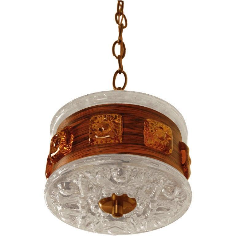 Swedish Mid-Century Modern Wood and Art Glass Pendant Chandelier
