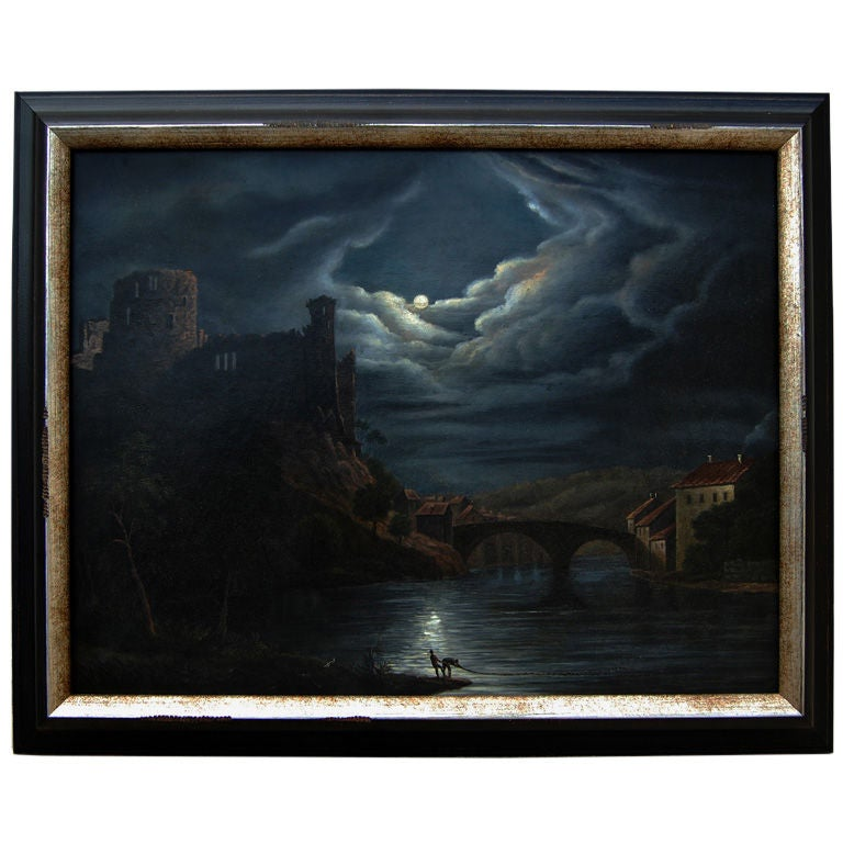 Antique Swedish Nightscape of the Gota Canal - Oil on Canvas