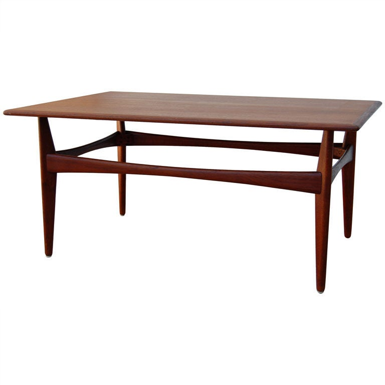 Mid century modern rectangular teak coffee table at 1stdibs Modern teak coffee table