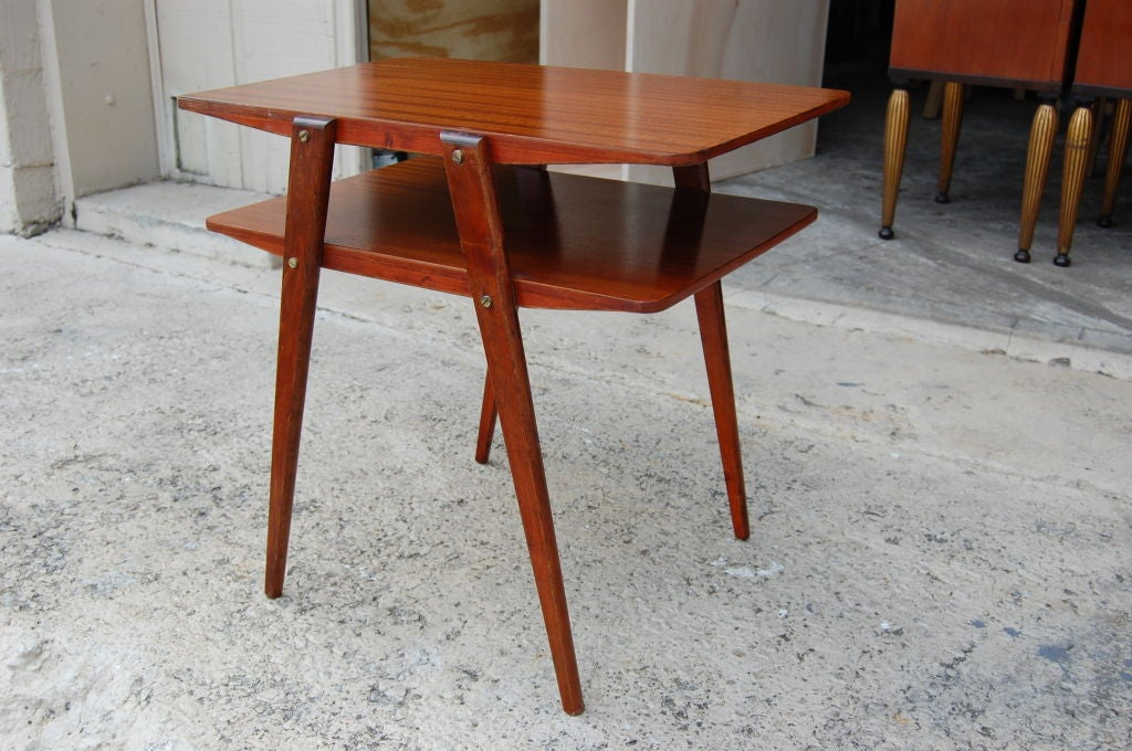 Two Tier MId Century Modern End Table In Ribbon Mahogany 2