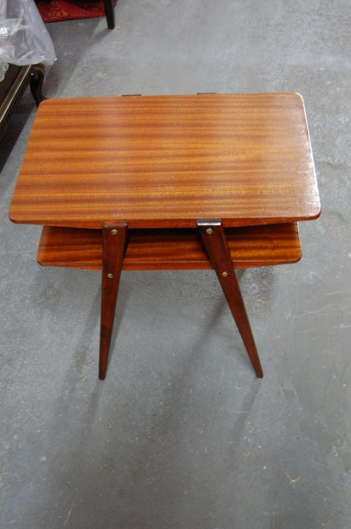 two tier mid century modern end table in ribbon mahogany at 1stdibs. Black Bedroom Furniture Sets. Home Design Ideas